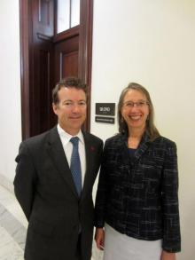Twila Brase (right)  with Sen. Rand Paul (R-Ken.) in Washington in 2012. (CCHF)