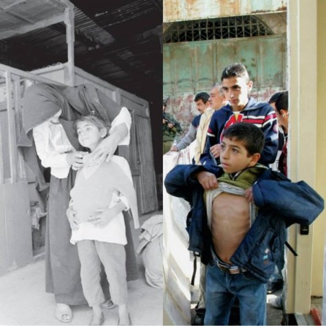 Black-and-white photo: Clothes distribution at the Rafah refugee camp in the Gaza Strip, 1972. By Kay Brennan, from the UNRWA photo archive. Color photo: An Israeli soldier searches a Palestinian boy at a checkpoint in Hebron. 20 Nov., 2005, by Nayef Hashlamoun.