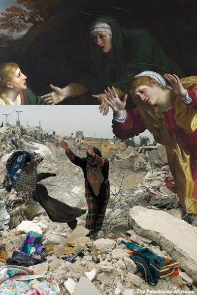 Artwork: Lamentation of Christ (c. 1606) by Annibale Carracci. Photo: First lifting of the curfew at the Jenin refugee camp following an Israeli raid. 15 April, 2002, by Alexandra Boulat.