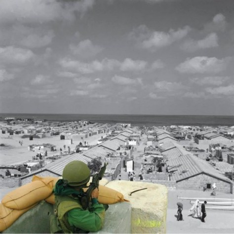 Black-and-white photo: A beach refugee camp in the Gaza Strip. From the UNRWA photo archive. Color photo: An Israeli soldier at the Qalandiya checkpoint. 20 April, 2002, by Alexandra Boulat.