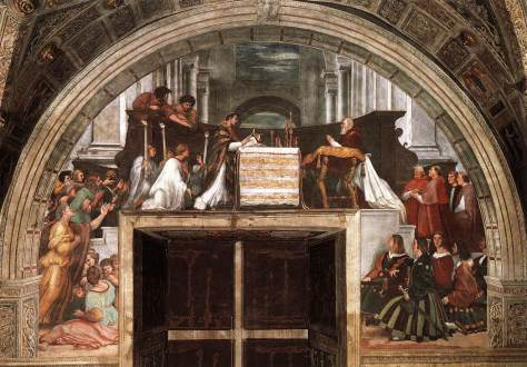 """Raphael's """"Mass at Bolsena,"""" depicting the miracle of transubstantiation, in which the bread began to """"bleed."""""""