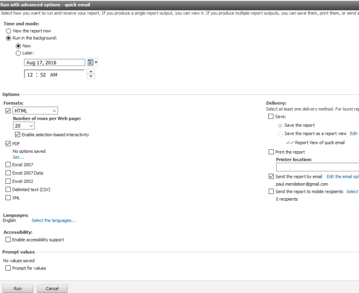 Cognos report run page. I'm actually taking these screenshots as I'm writing the article. Hope it works.