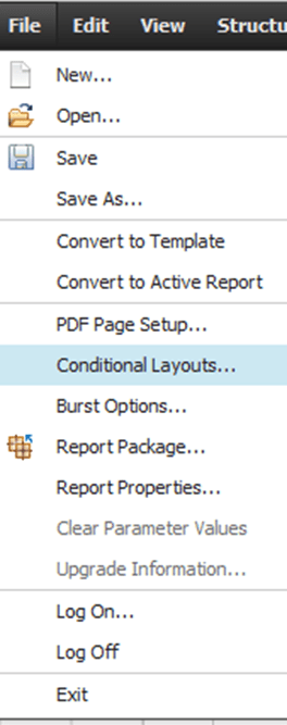 Conditional Layouts option in the file menu