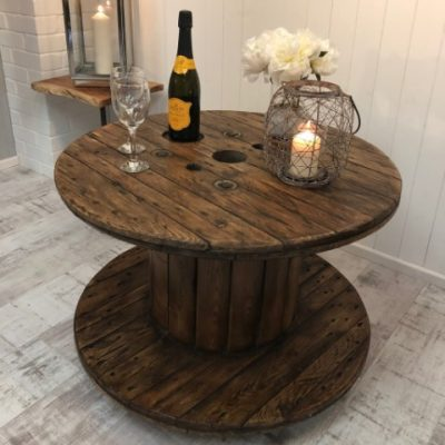 coffee table cable drum reclaimed table