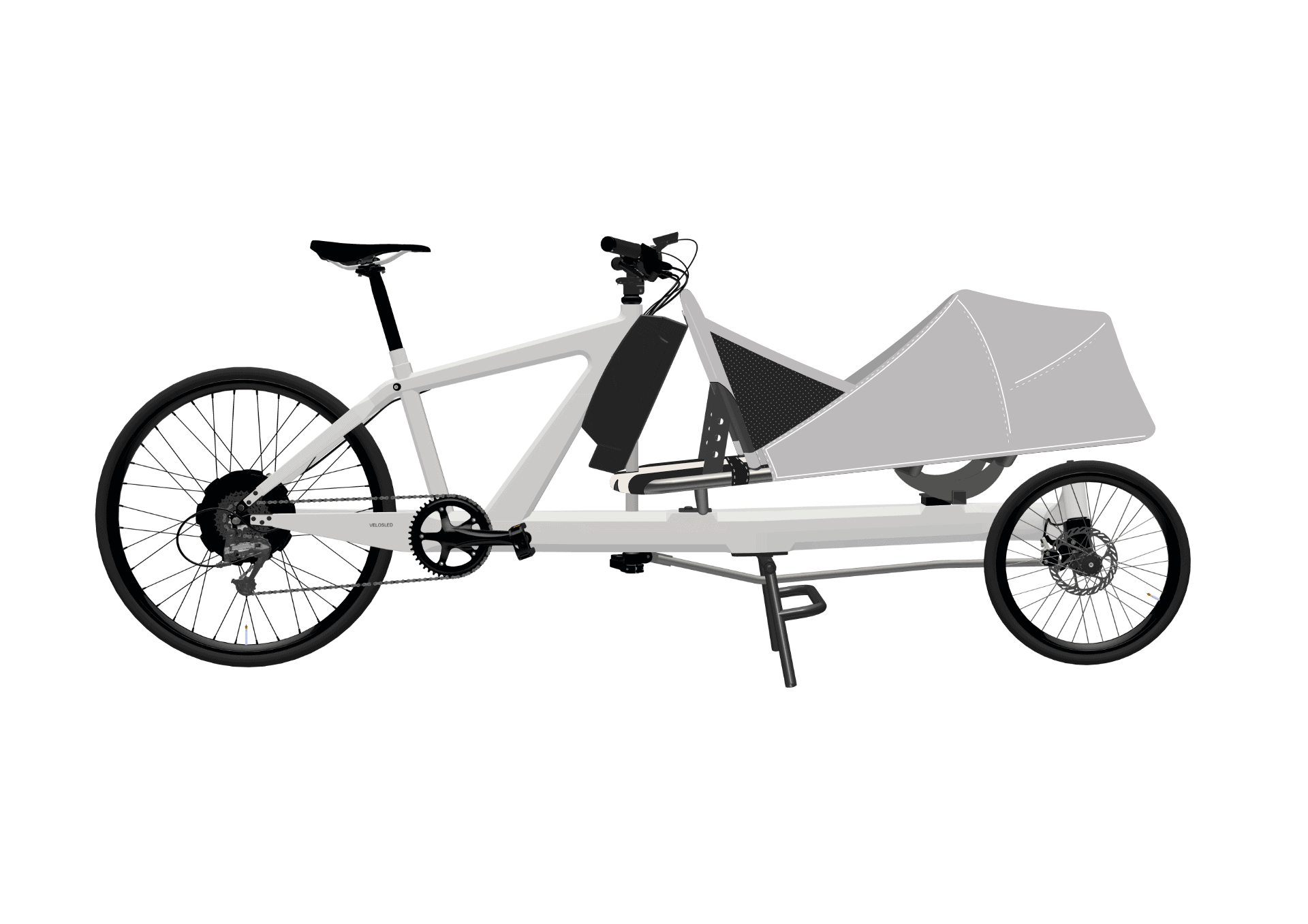 VeloSled e-Family with canopy SILVER