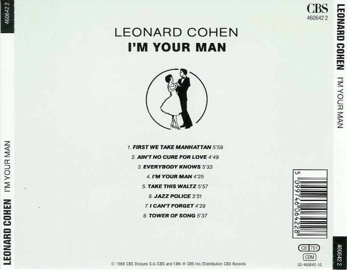 Back Cover of Leonard Cohen's I'm Your Man album