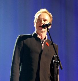 "Sting sings ""Dance Me To The End Of Love"" to open the concert."