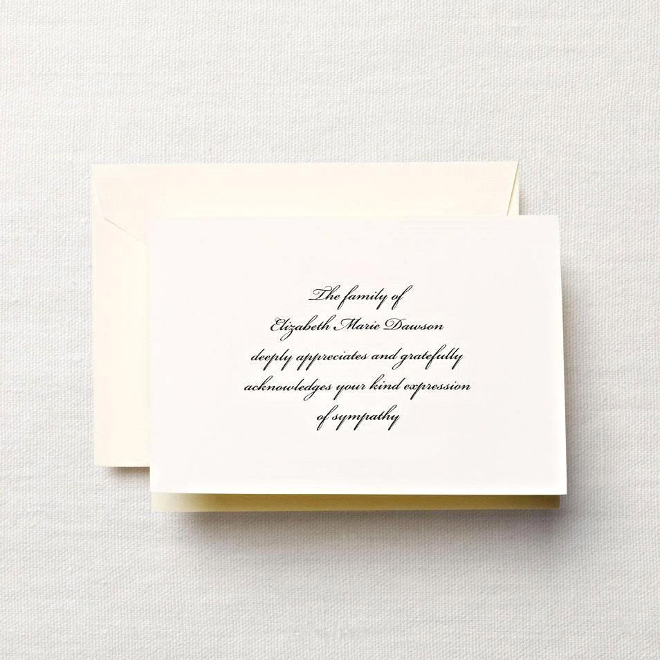 Personalized Sympathy Acknowledgement Note With Cross