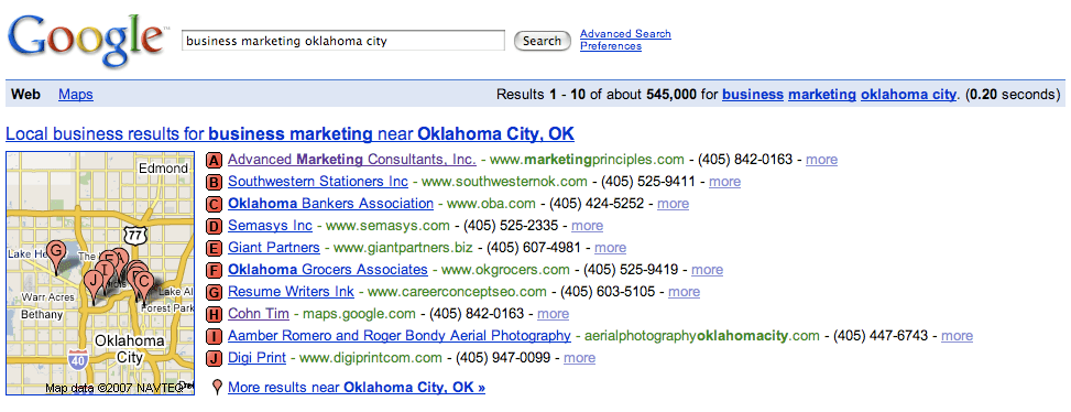 Google Local Business Marketing Oklahoma City