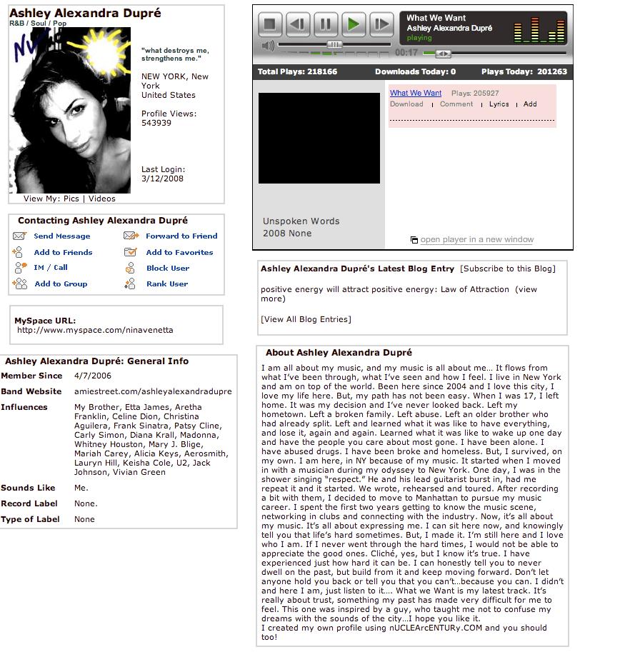 Ashley Alexandra Dupre' MySpace