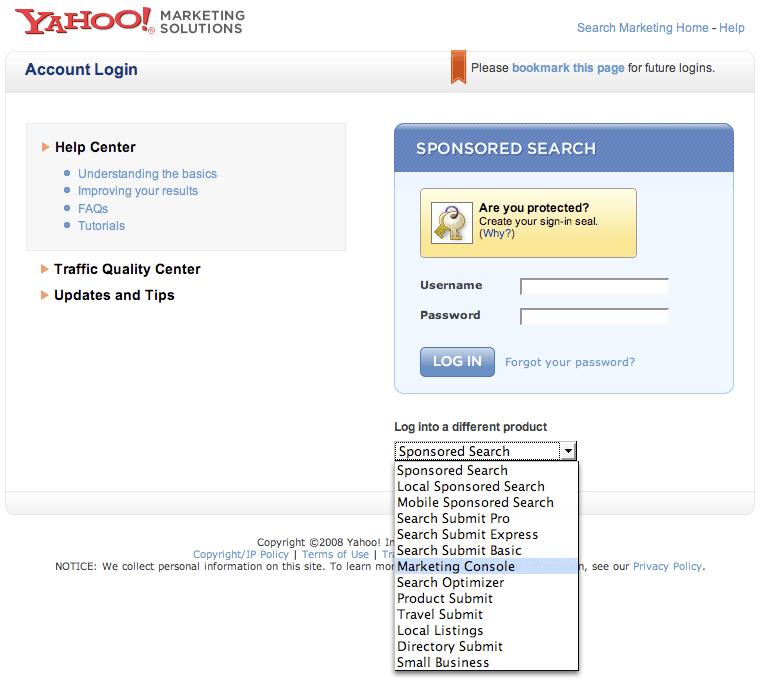 Yahoo Marketing Console