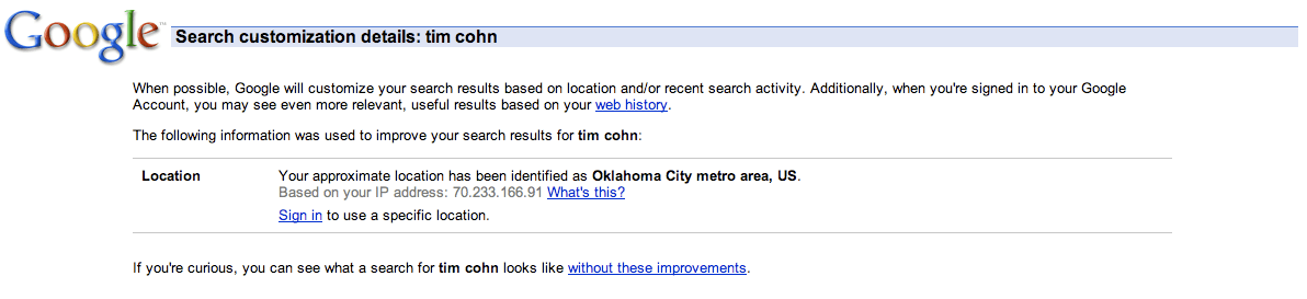 Search Customization Details