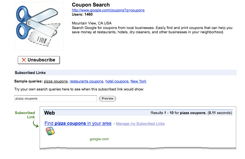 Google Coupon Search