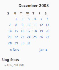 December 2008 Total Blog Traffic