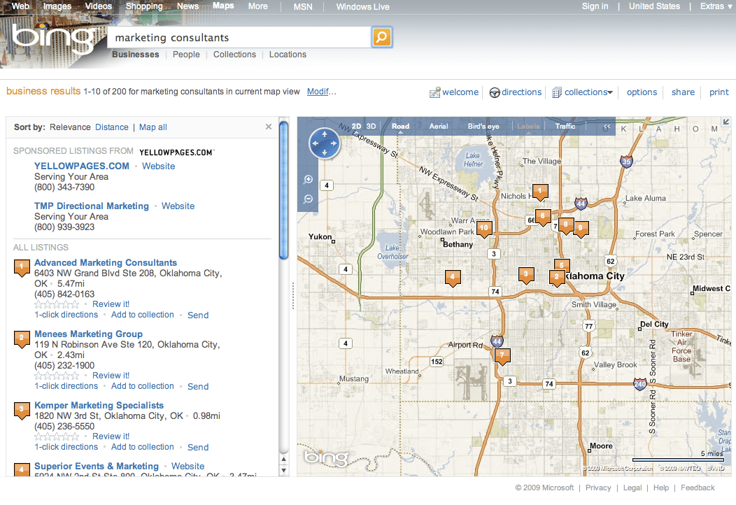 Bing Local Category Search