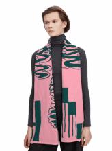 Merino Scarf: Bubblegum Pink & Petrol Green