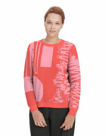 Merino Jumper: Spicy Papaya & Bubblegum Pink