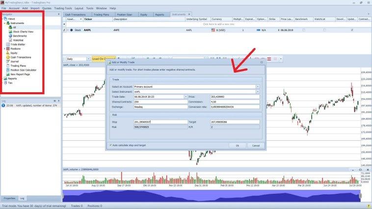 Ein professionelles Trading Tagebuch führen mit der Trading Diary Pro Software Beispiel