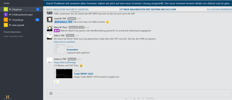 Heldental Backend Support Chat für Trader
