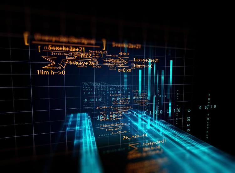 Eine Reihe digitaler Algorithmen vor dem Hintergrund eines digitalisierten Gitters mit hellblauen Balken, die es durchziehen - Blockchain-Konzept