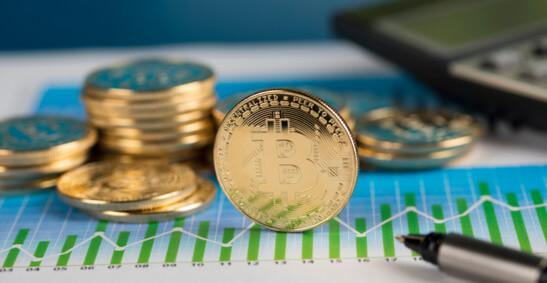 Eine Bilddarstellung von Bitcoins in einem Diagramm
