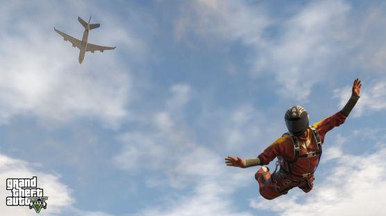 Grand Theft Auto V skydiving
