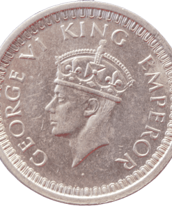 One Rupees India 1942 George Vi King Emperor Silver Coin