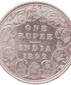 One Rupee India 1892 Queen Victoria Empress Silver Coin