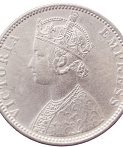 One Rupees India 1897 Rare Queen Victoria Emperor Silver Coin B Mark