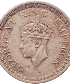 One Rupees India 1942 George Vi King Half Silver Coin