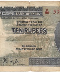 10 Rupees of King George VI signed by J.B. Taylor.