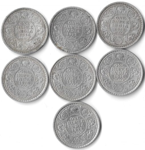 One Rupee George V Silver Coin Set of Date 12,13,14,16,17,18,19- Same Set Given