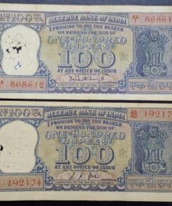 India 100 Rupees old Diamond Issue Two Different Governor L. K. Jha P. C. Bhatacharya Condition as Per Image