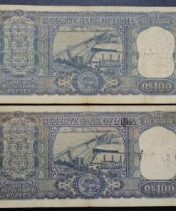 India 100 Rupees old Diamond Issue Two Different Governor L. K. Jha P. C. Bhatacharya Top Condition Note