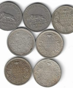 1/4 Rupee India 7 Coins Set 1940,42,43,44,45,46,47 George Vi All Different Coins