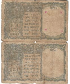 One Rupee 1940 British India Side Facing King George Vi Note Sign: C.E.Jones ***Condition as Per Shown*** 2 Notes Given at Super Lowest Rate #2