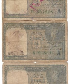 One Rupee 1940 British India Side Facing King George Vi Note Sign: C.E.Jones ***Condition as Per Shown*** 3 Notes Given at Super Lowest Rate #3