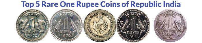 Top 5 Rare One Rupee Coins of Republic India