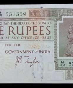 Rare Five Rupee Bank Note of King George V J B Taylor - Good Condition Note