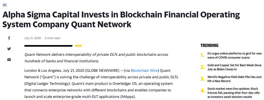 Quant Network Funding