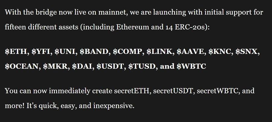 Secret Ethereum Tokens