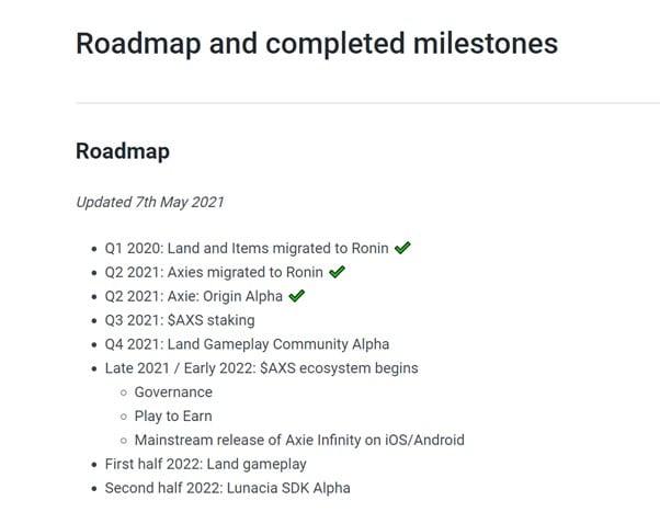 Axie Infinity Roadmap