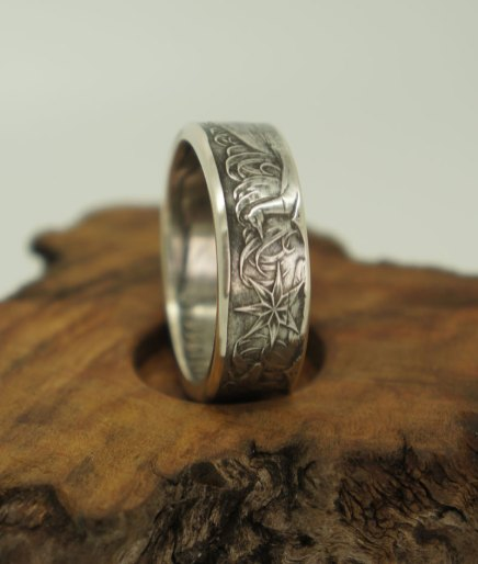 1966-Australian-silver-50-cent-coin-ring-1-size14