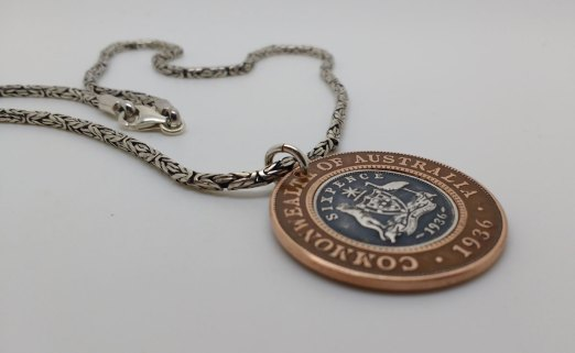 1936-Australian-Penny-Six-Pence-Pendant-with-silver-chain
