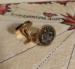 Australian silver 3 pence coin cuff links