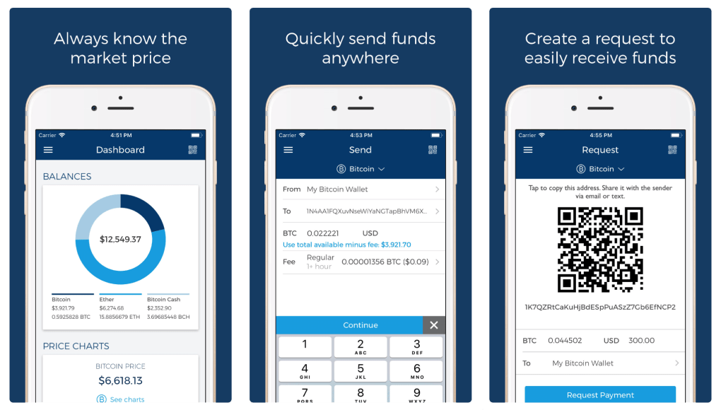 Cryptocurrency App Blockchain Wallet. The first image shows the price chart and balance for your digital assets. The second shows a transfer, and the third is a QR code for receiving funds.