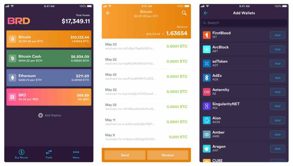 Cryptocurrency App, Bread Wallet. This personal wallet is showcased with three panels. The first shows your assets, the second shows your transaction history for Bitcoin, and the third lets you add wallets.