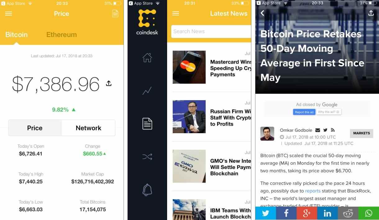 Coindesk - Krypto-App für News