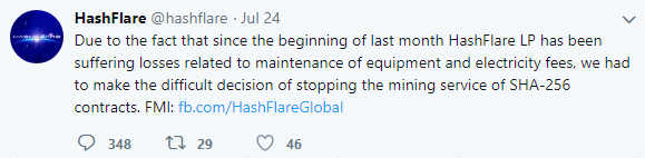 Hashflare Announces a Freeze on Bitcoin Mining Operations