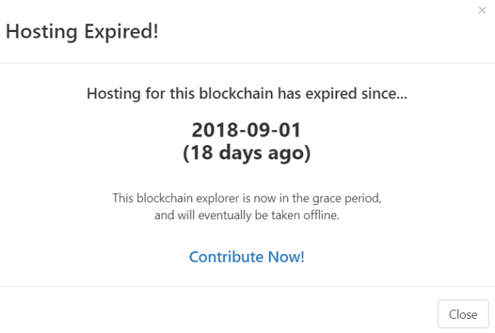 Warning that hosting for the Safe Trade Coin block explorer had expired.